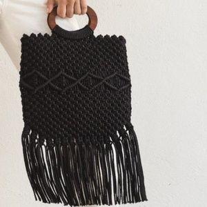 Danielle nicole macrame black crochet frin handbag